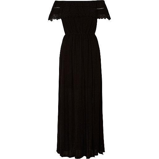Black lace trim bardot maxi dress