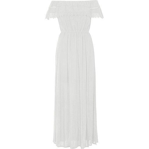 Cream lace trim bardot maxi dress