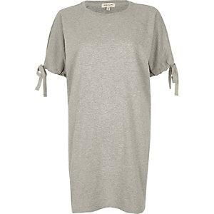 Grey marl tie sleeve longline T-shirt