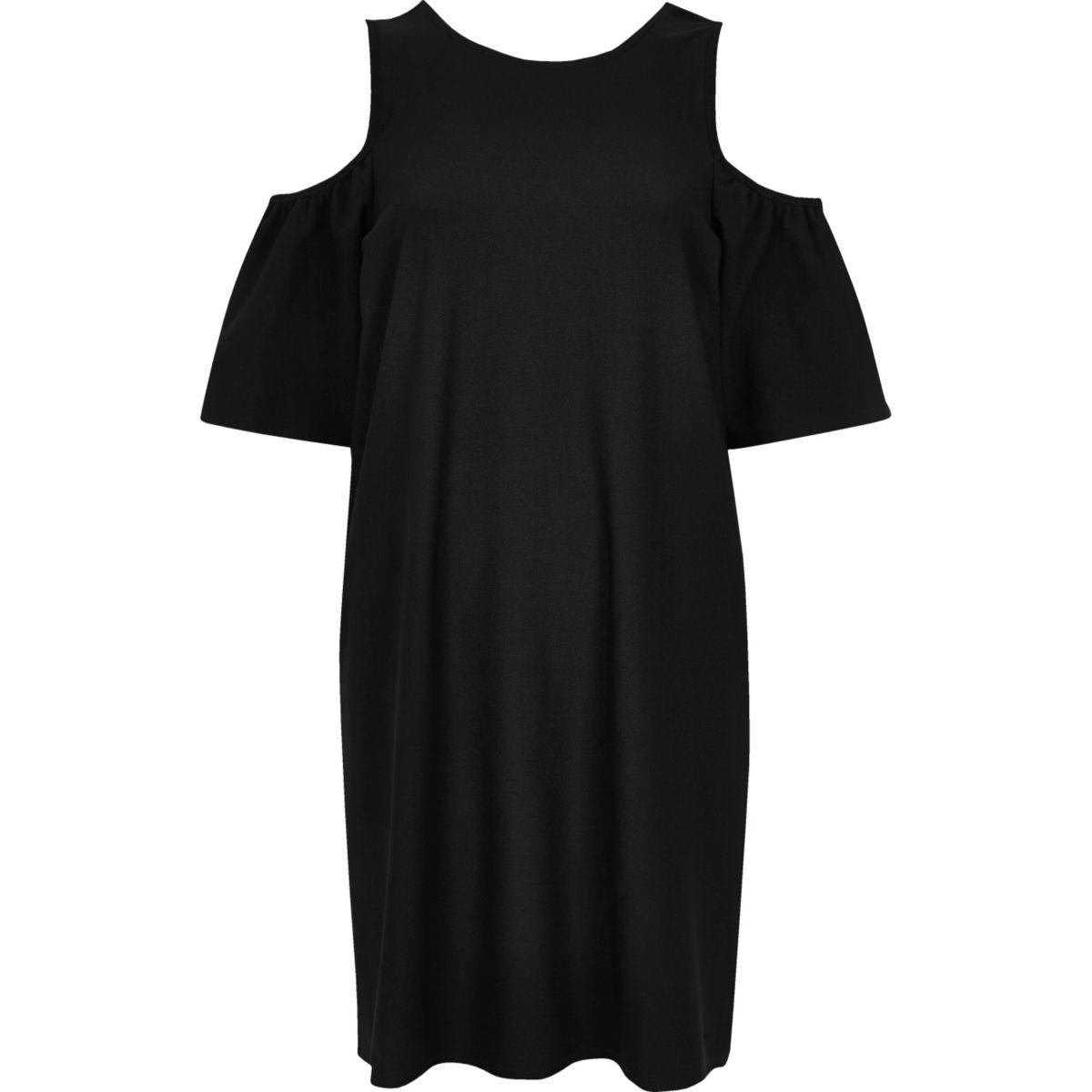 Schwarzes, schulterfreies Swing-Kleid mit Rüschen