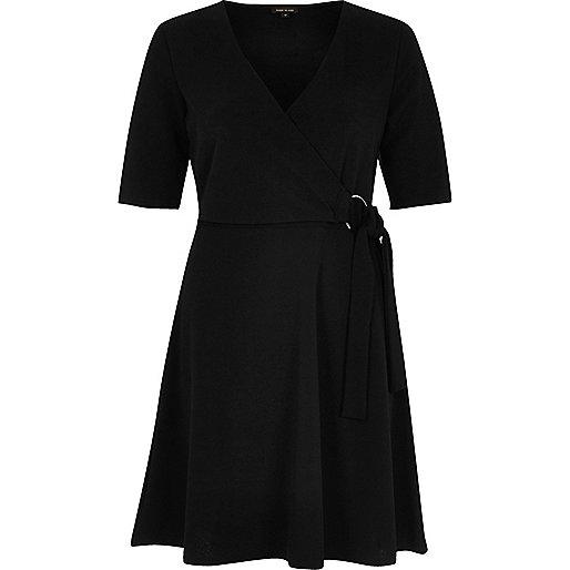 Black wrap ring tie skater dress