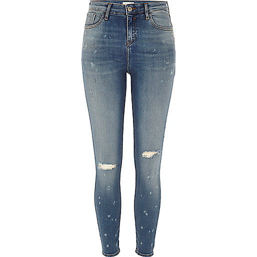 Blue bleach ripped Amelie super skinny jeans