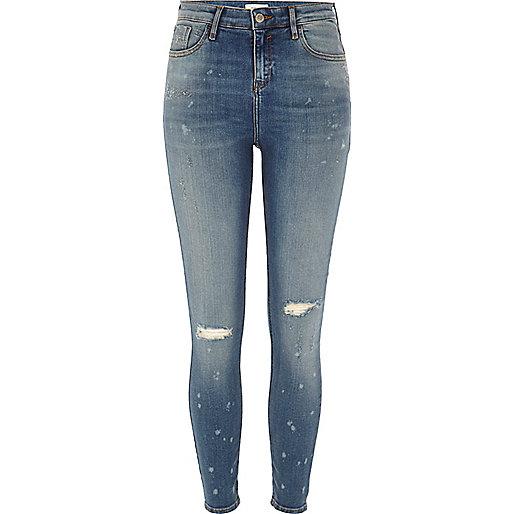 Amelie – Gebleichte Super Skinny Jeans im Used-Look