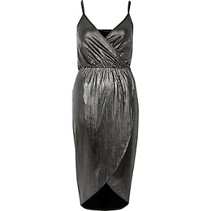 Silver metallic wrap midi dress
