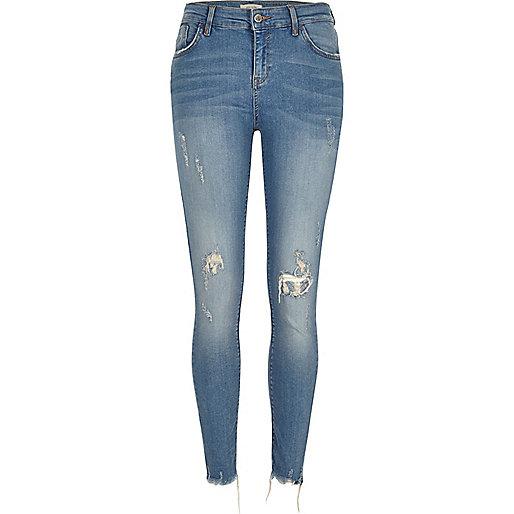 Blue chewed hem super skinny Amelie jeans