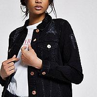 Veste en jean usé noire oversize