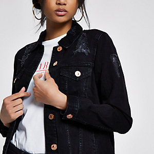 Zwart distressed oversized denim jack
