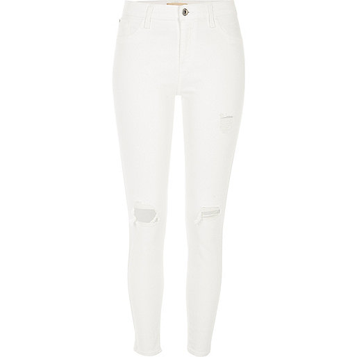 White Amelie super skinny ripped jeans