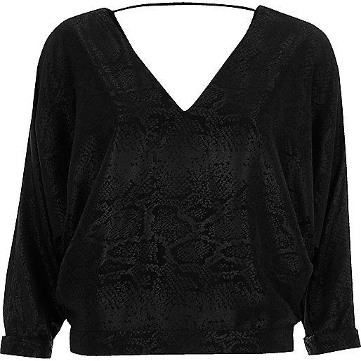 Black snake print batwing top
