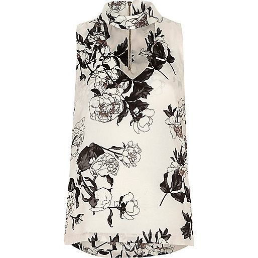 Cream floral choker top