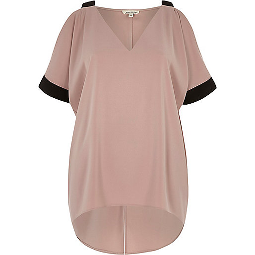 Pink contrast cold shoulder top