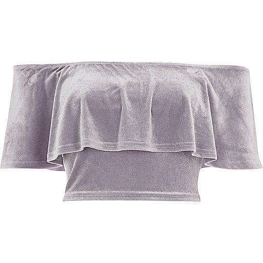 Grey velvet deep frill bardot crop top