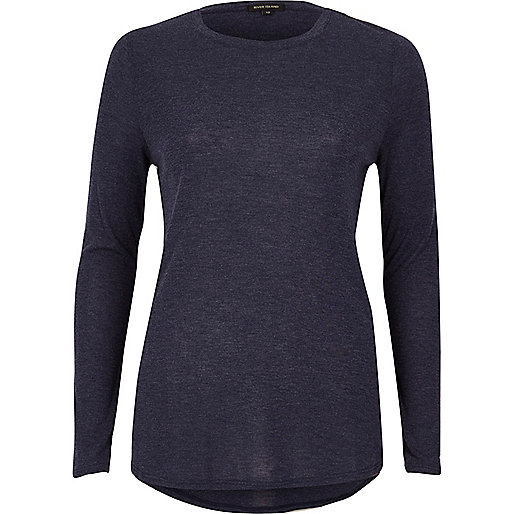 Navy blue basic jersey top