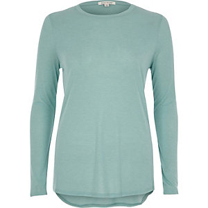 Turquoise green long sleeve basic top