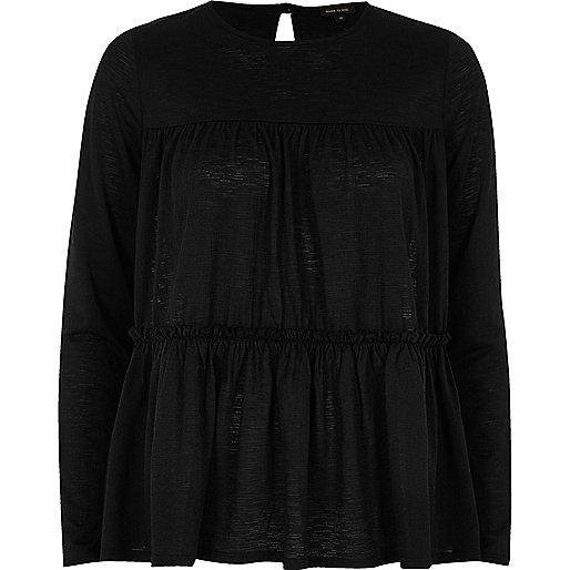 Black tiered smock top
