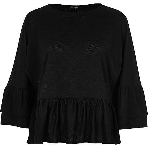 Black double frill top