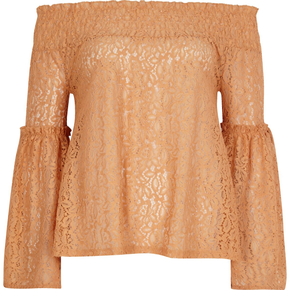 Orange lace flared sleeve bardot top