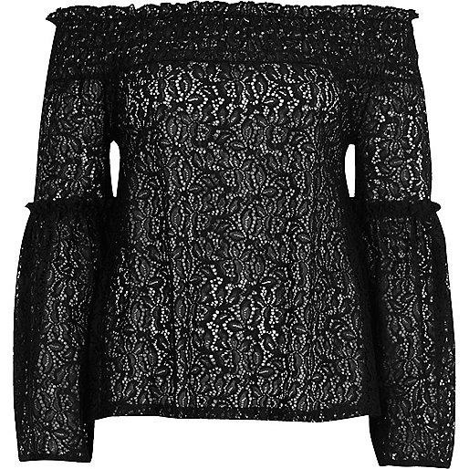Black lace flared sleeve bardot top
