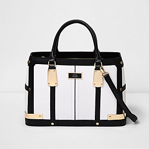 White contrast panel boxy tote bag