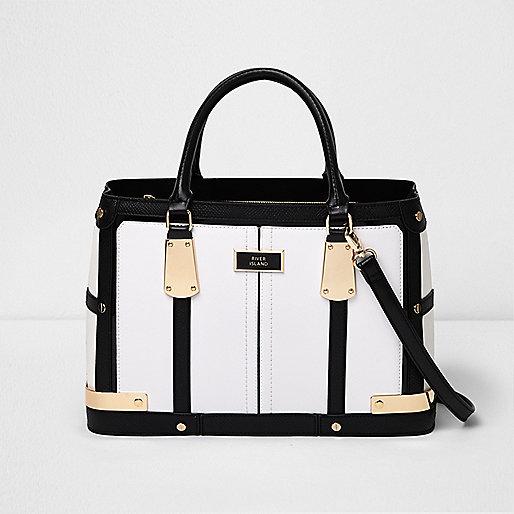 White contrast panel boxy tote bag