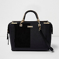 Black snakeskin embossed tote bag