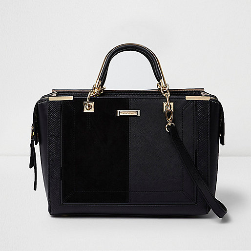 Black snakeskin embossed tote bag