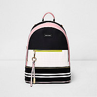 Black and pink neoprene backpack