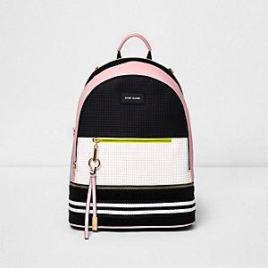 Zwart-wit-roze neopreen rugzak