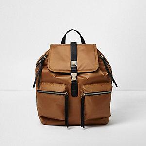 Burnt orange satin backpack