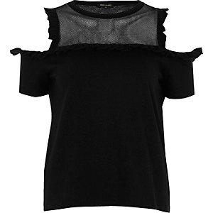 Black frill mesh panel cold shoulder top