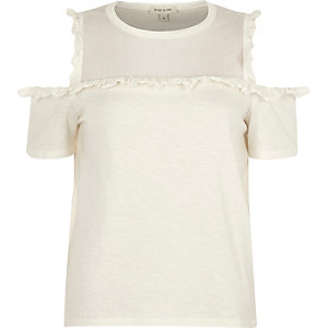 Cream frill mesh panel cold shoulder top