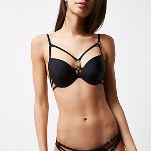Black strappy back plunge bra