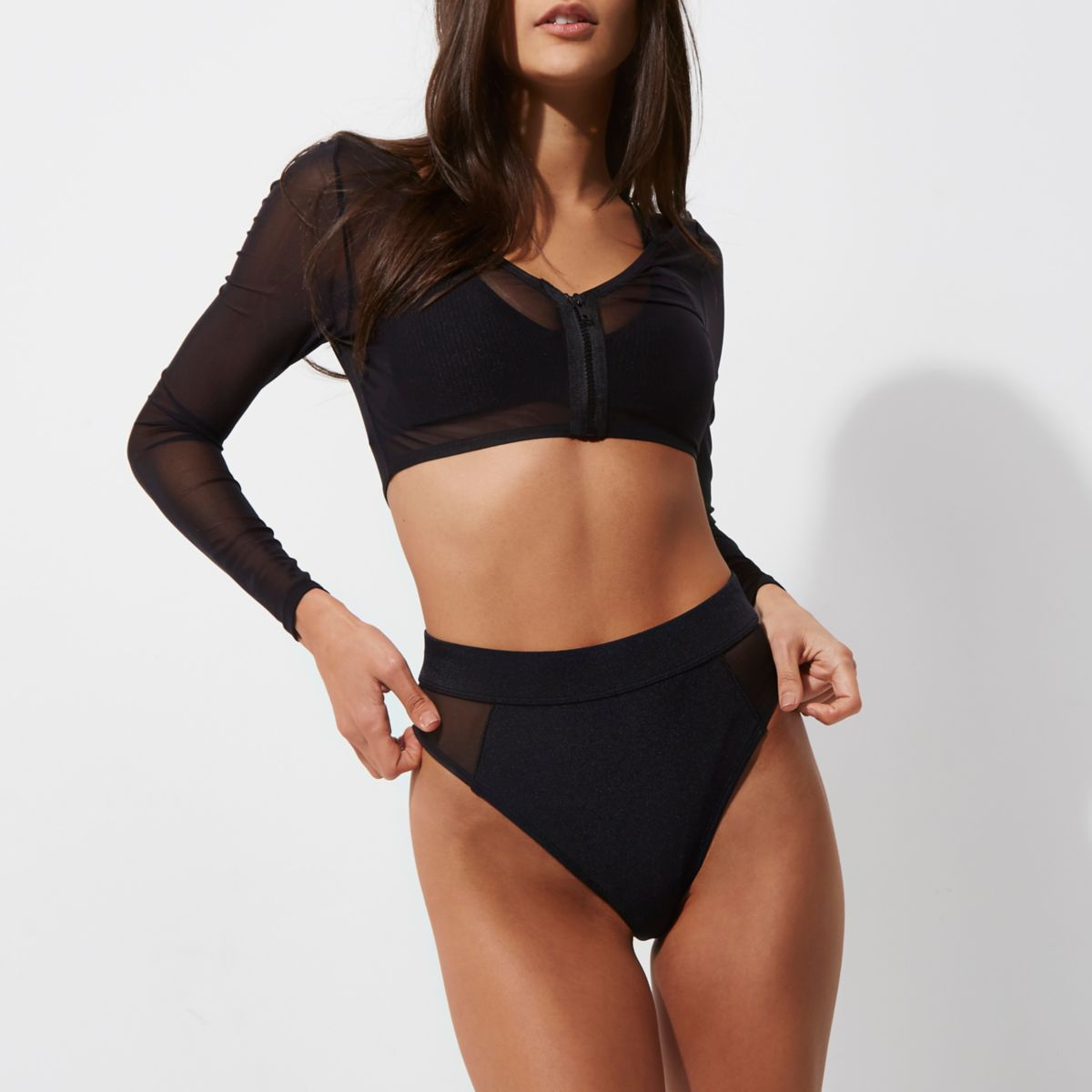 Black mesh long sleeve bikini top