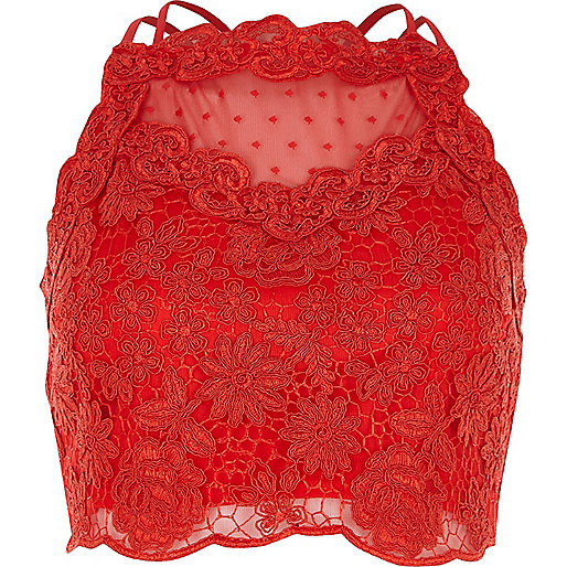 Red lace mesh crop top