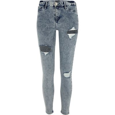 Molly Acid wash ripped jegging