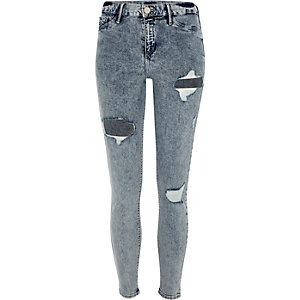 Molly – Jeggings in Acid-Waschung im Used-Look