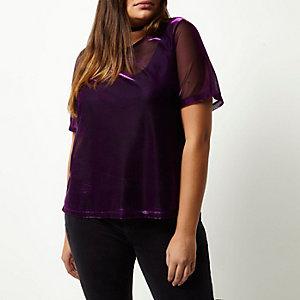 T-Shirt aus Netzstoff in Rosa-Metallic