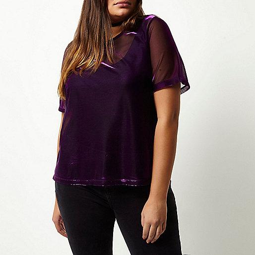 T-shirt Plus en tulle rose métallisé