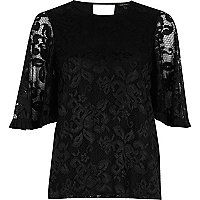 Black frill flute sleeve top
