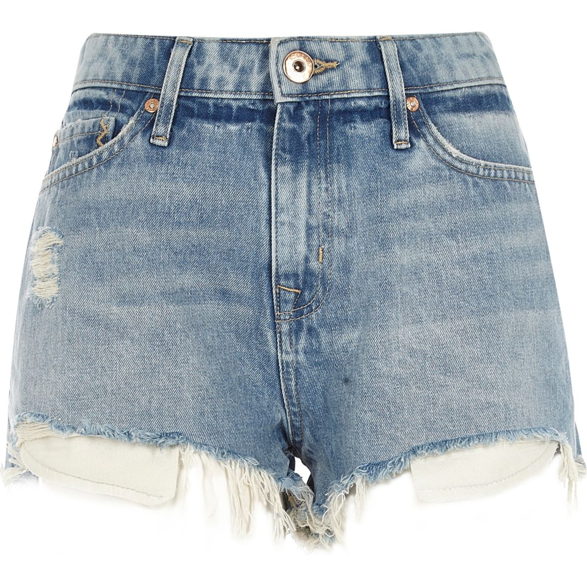 Light blue wash mid rise ripped hot pants