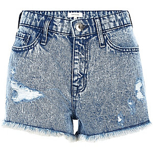 Blue acid wash ripped denim shorts
