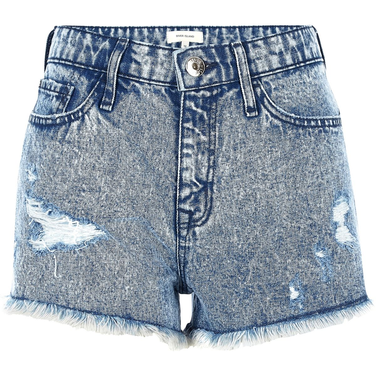 Blue acid wash ripped denim shorts
