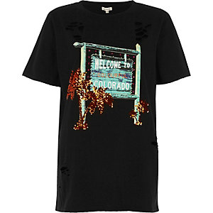 Black colorado print sequin tee