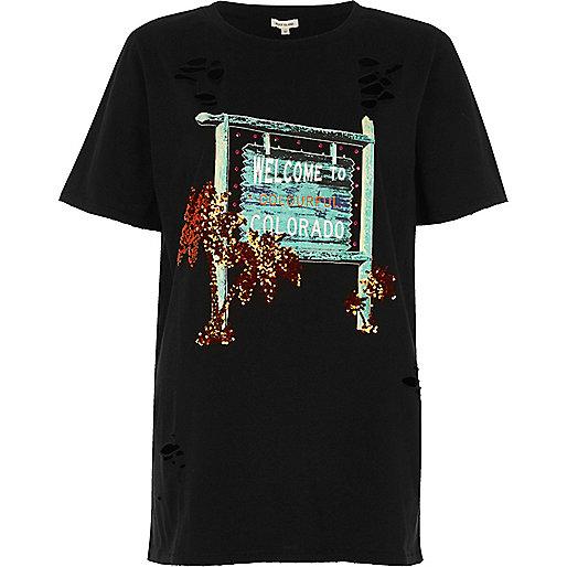 T-shirt imprimé Colorado noir à sequins