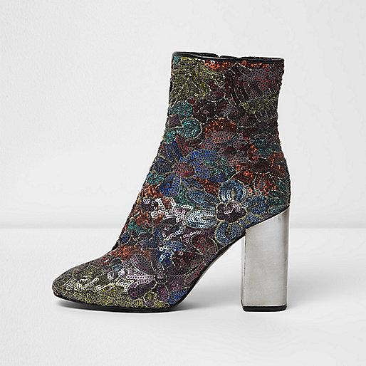 Black sequin contrast heel ankle boots