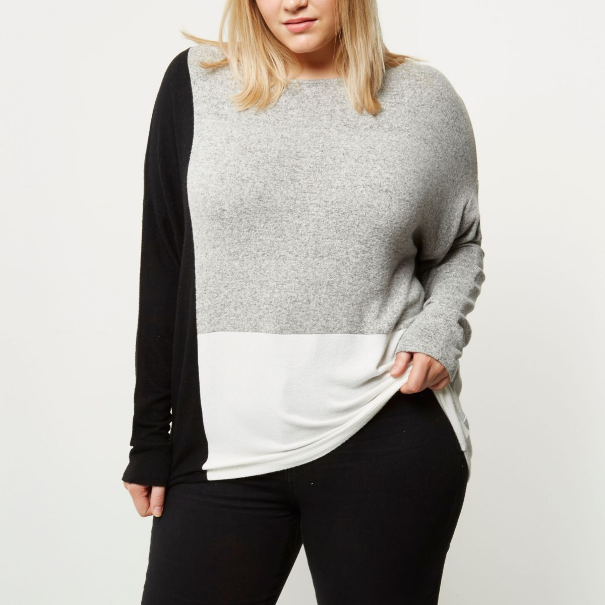 Plus grey colour block batwing top