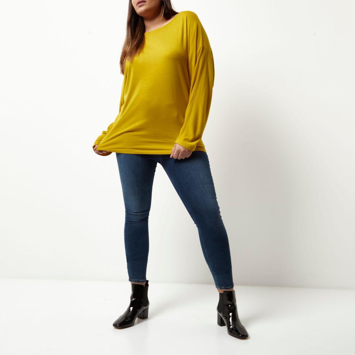 Haut Plus jaune moutarde à manches chauve-souris