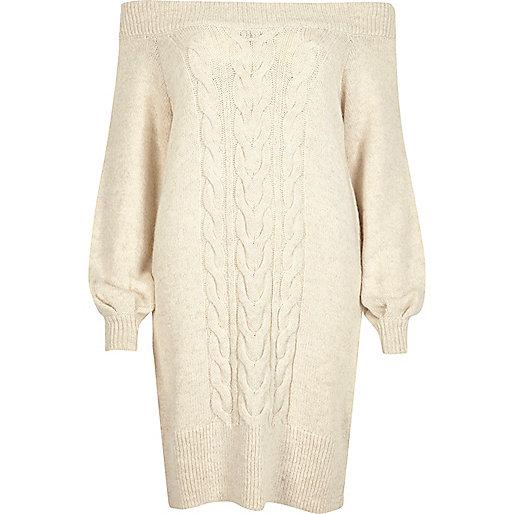 Cream bardot cable knit dress