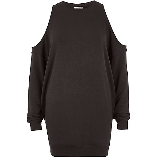 Dunkelgraues Sweatshirt mit Schulterausschnitten