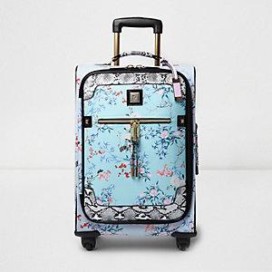 Blue floral print wheelie cabin suitcase